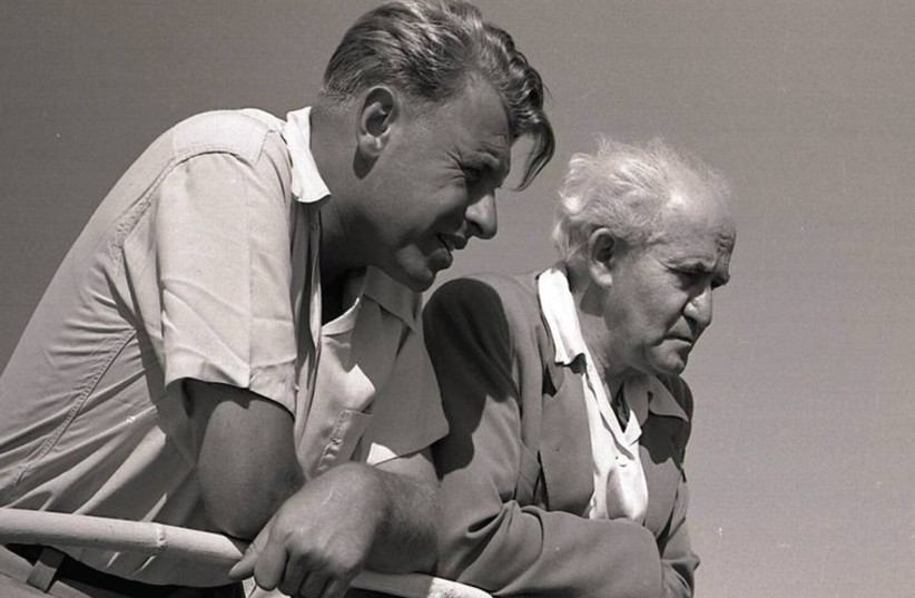 Teddy Kollek and David Ben-Gurion on the Kinneret. (photo credit: NAFTALI OPPENHEIM/ BEIT YIGAL ALLON ARCHIVES, GINOSSAR)