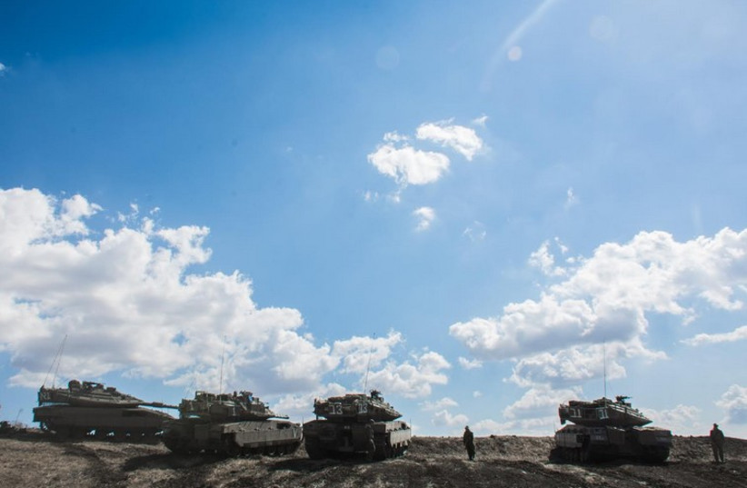 Tank crews from the Seventh Brigade's 75th Battalion train with their new Merkava Mk. 4 tanks (photo credit: IDF SPOKESMAN'S UNIT)