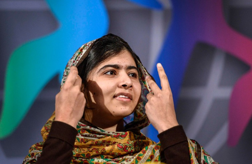 Nobel Peace Prize laureate Malala Yousafzai of Pakistan speaks at the World's Children's Prize ceremony in Mariefred, Sweden (photo credit: REUTERS)