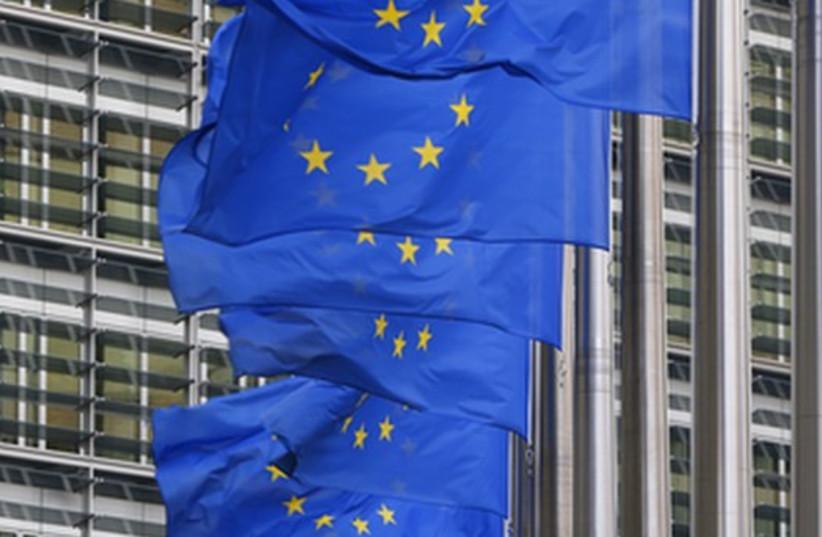 European Union flags (photo credit: REUTERS)