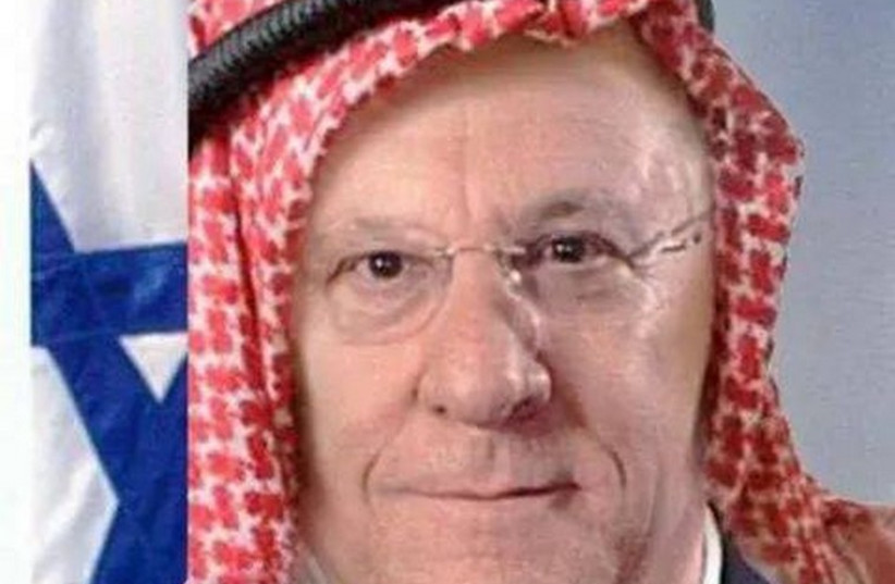 A doctored image of President Reuven Rivlin wearing a keffiyeh (photo credit: Courtesy)