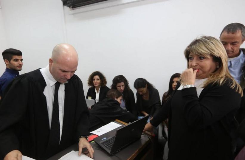 Shula Zaken at Talansky Affair retrial where she testified against her former boss, Ehud Olmert (photo credit: GIL YOCHANAN/POOL)