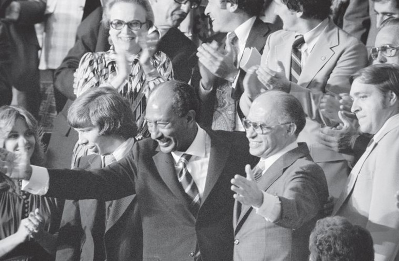 Egyptian president Anwar Sadat and Israeli prime minister Menachem Begin (photo credit: US LIBRARY OF CONGRESS/WIKIMEDIA)