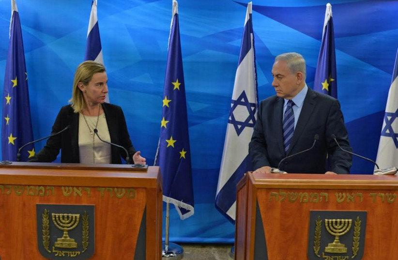 PM Benjamin Netanyahu with new European Union Foreign Policy Chief Federica Mogherini in Jerusalem (photo credit: KOBI GIDEON/GPO)