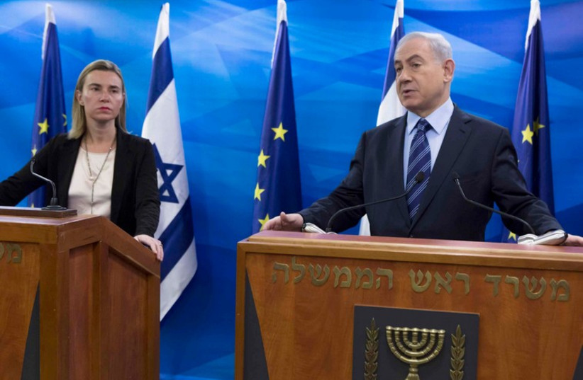 EU foreign policy chief Federica Mogherini (L) at a media conference with PM Benjamin Netanyahu in Jerusalem November 7, 2014 (photo credit: REUTERS)