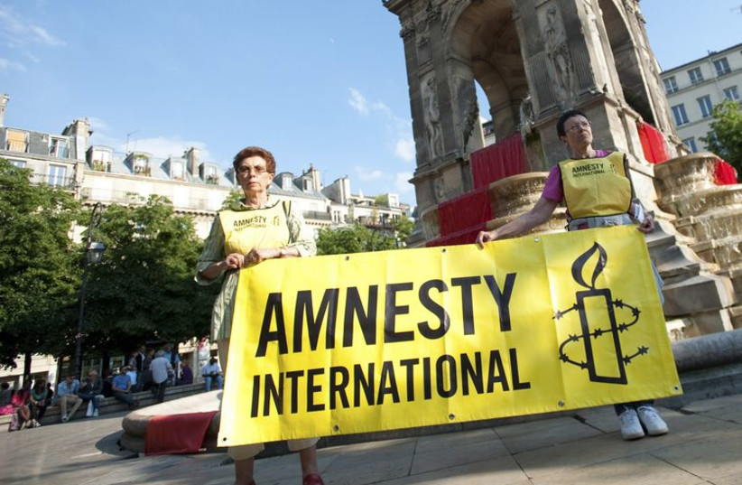 Activists of Amnesty International demonstrate to show their support with the Syrian people at the Fontaine des Innocentes in Paris May 29, 2012. (photo credit: REUTERS)