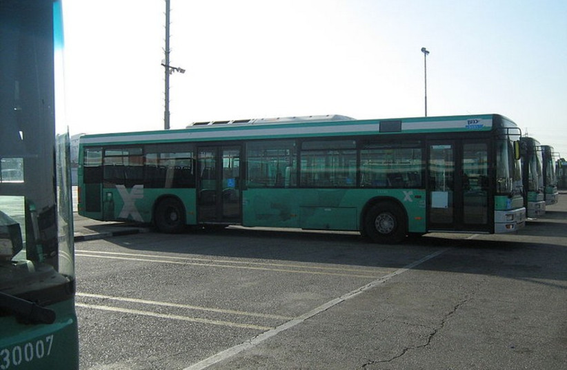 An Egged bus sits in a parking lot  (photo credit: Wikimedia Commons)