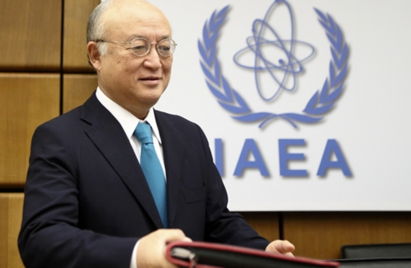 IAEA Director General Amano arrives for a board of governors meeting at the IAEA headquarters in Vienna. (photo credit: REUTERS)
