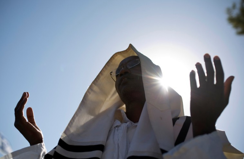 Members of the Ethiopian Jewish community in Israel mark the holiday of Sigd in Jerusalem November 20, 2014 (photo credit: REUTERS)