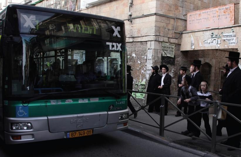 An Egged bus driving through Jerusalem (photo credit: MARC ISRAEL SELLEM)