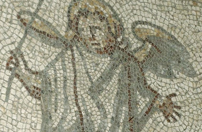 An ancient Roman mosaic at the Bignor Villa in Sussex, England. (photo credit: Wikimedia Commons)