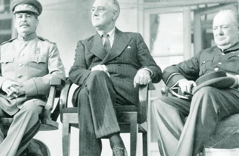 Joseph Stalin, Franklin D. Roosevelt, and Winston Churchill, 1943. (photo credit: Wikimedia Commons)