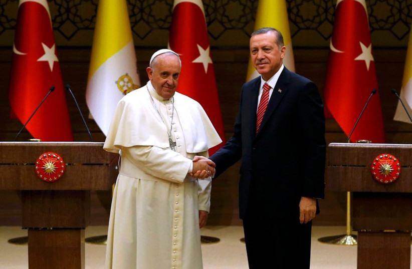 Pope Francis and Turkey's President Tayyip Erdogan (photo credit: REUTERS)