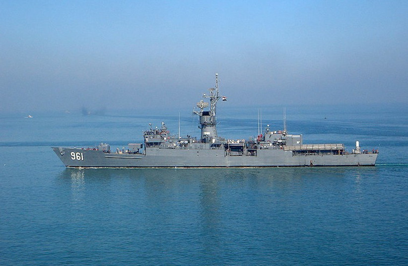 Warship with the flag of the Egyptian Navy (photo credit: Wikimedia Commons)