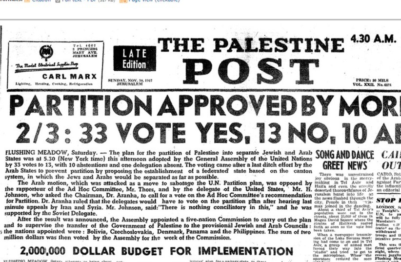 This Week in History: The UN Partition Plan announced (photo credit: ARCHIVE)