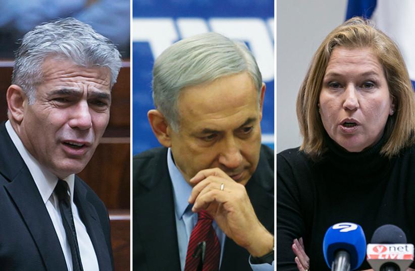 Netanyahu Livni and Lapid (photo credit: REUTERS,MARC ISRAEL SELLEM/THE JERUSALEM POST)