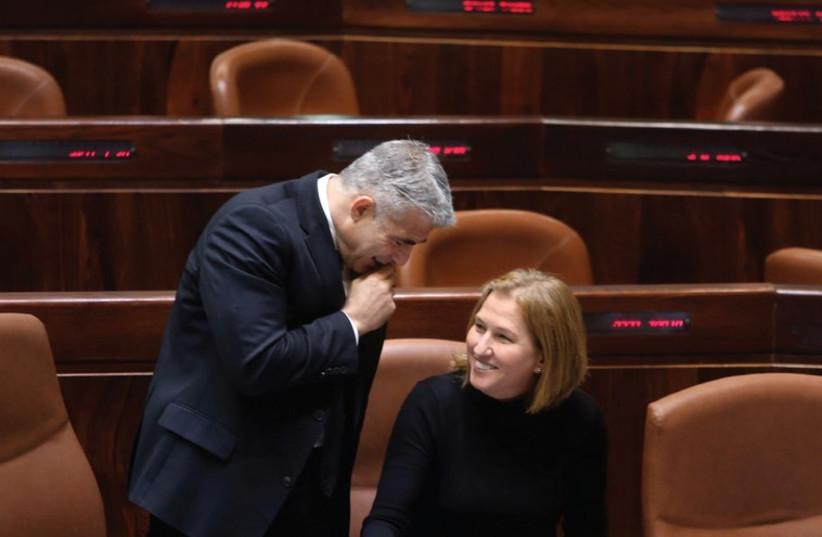 Yair Lapid and Tzipi Livni (photo credit: MARC ISRAEL SELLEM/THE JERUSALEM POST)