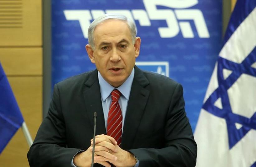 Prime Minister Benjamin Netanyahu at a Likud faction meeting, December 3, 2014 (photo credit: MARC ISRAEL SELLEM/THE JERUSALEM POST)