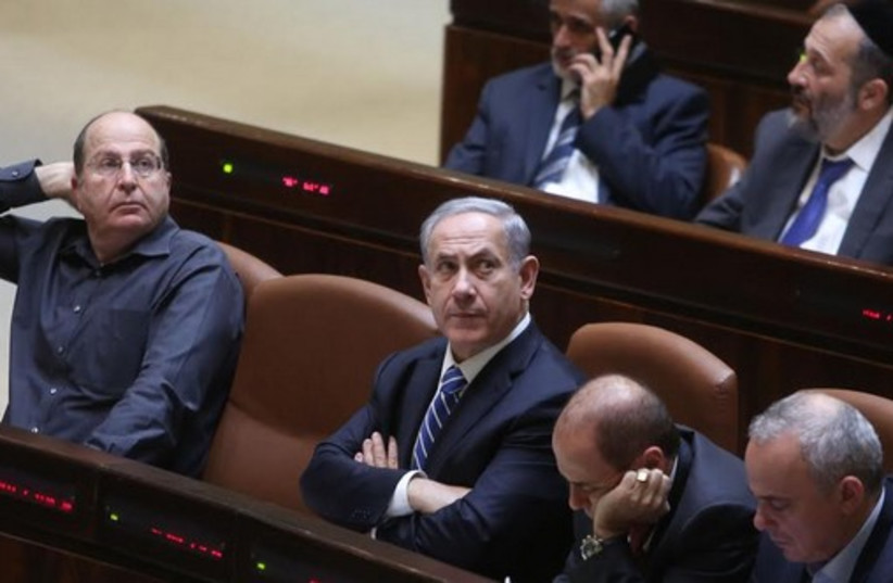 Benjamin Netanyahu at Knesset disperal vote (photo credit: MARC ISRAEL SELLEM)