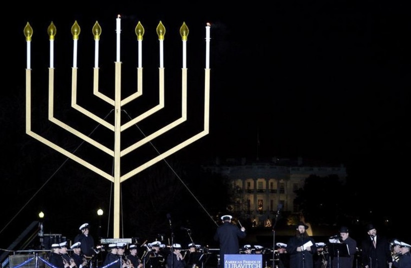 A giant menorah outside the White House in Washington (photo credit: REUTERS)