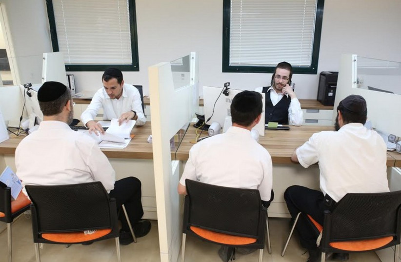 Employment fair in Jerusalem for  men and women from the haredi sector, (photo credit: KIVUN JERUSALEM)
