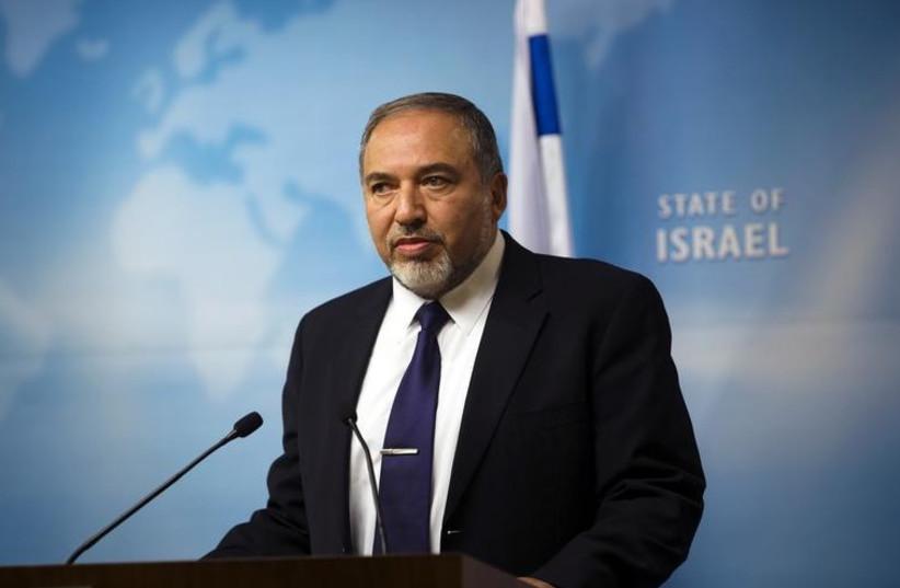 Foreign Minister Avigdor Liberman addresses the media in Jerusalem (photo credit: REUTERS)