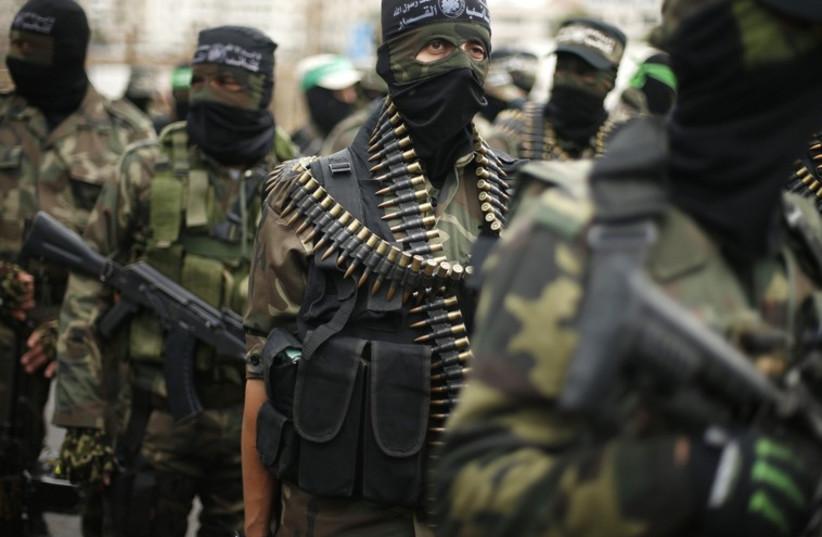 Gazans celebrate the 27th anniversary of Hamas' founding (photo credit: REUTERS)