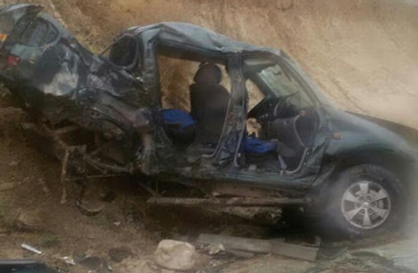 Car crash on Highway 90 in West Bank (photo credit: ISRAEL POLICE)