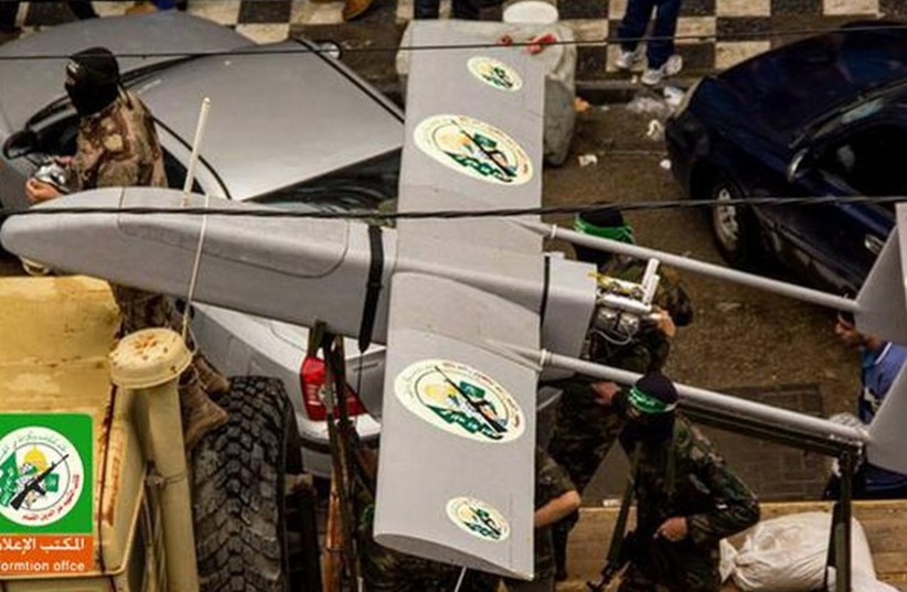 A drone seen at a Hamas rally, marking 27 years since the movement's establishment. (photo credit: HAMAS TV)