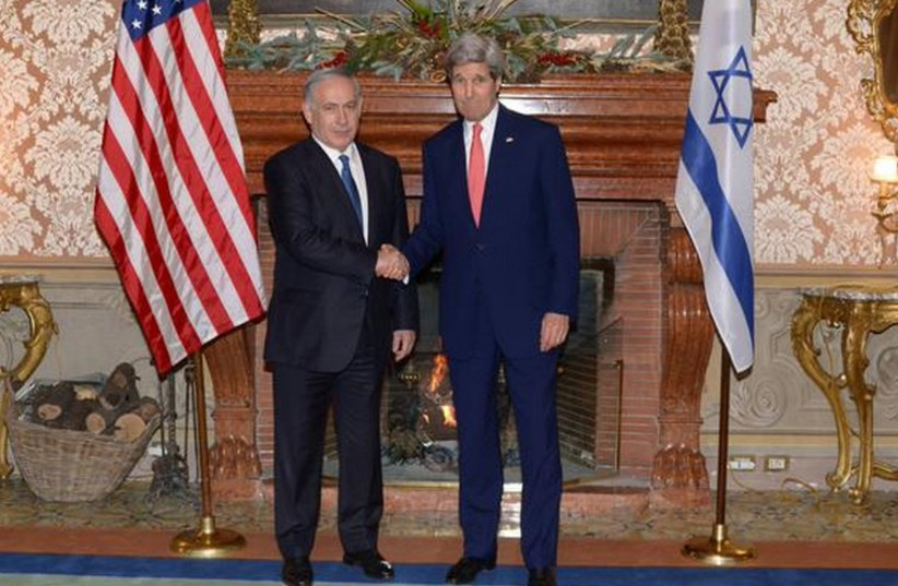 Benjamin Netanyahu meets with US Secretary of State John Kerry in Rome.  (photo credit: PRIME MINISTER'S OFFICE)