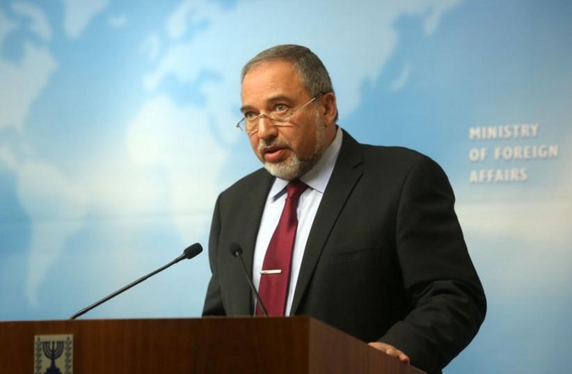 Liberman at press conference (photo credit: MARC ISRAEL SELLEM/THE JERUSALEM POST)