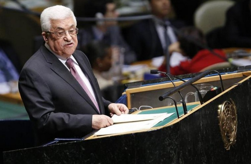 Palestinian Authority President Mahmoud Abbas at the UN Headquarters in New York [File] (photo credit: REUTERS)