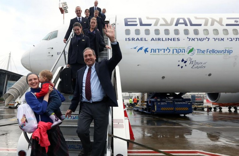 Over two hundred new olim arrive on flight of IFCJ aliya initiative (photo credit: MARC ISRAEL SELLEM)