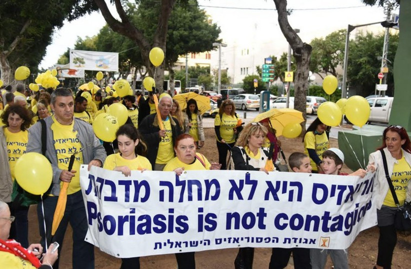 The Israel Psoriasis Association hold a march in Tel Aviv, December 22 (photo credit: Courtesy)