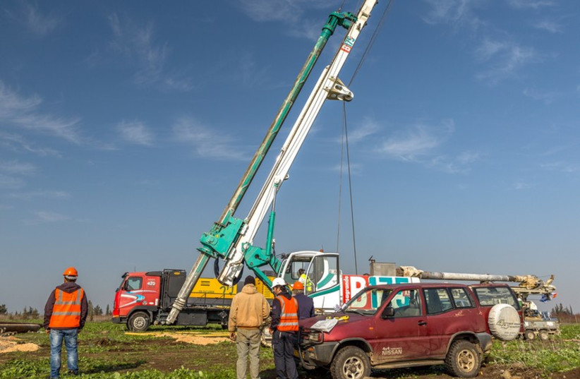 Oil drilling site on the Golan Heights (photo credit: AFEK OIL AND GAS)