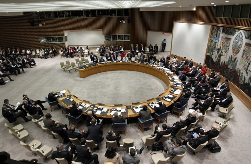 Delegates sit for a Security Council meeting at the UN Headquarters in New York (photo credit: REUTERS)