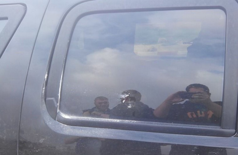 American consular vehicle which was attacked by rock-hurling settlers (photo credit: FACEBOOK)