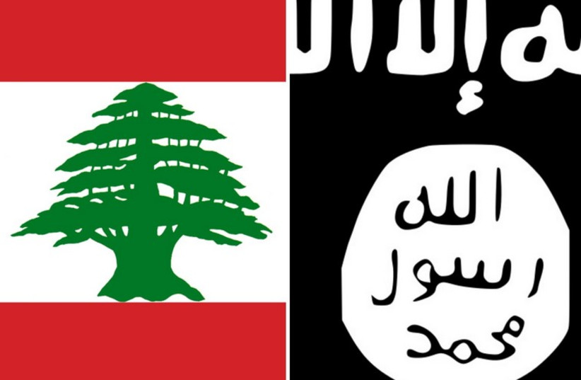 The flags of Lebanon and Islamic State (photo credit: Courtesy)