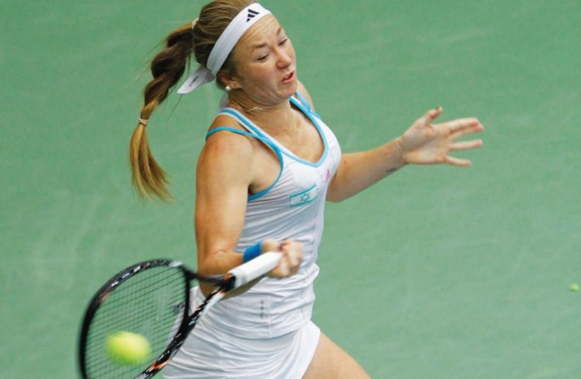 Julia Glushko broke Caroline Wozniacki's serve twice during yesterday's first-round match at the Auckland Classic in New Zealand, (photo credit: NIR KEIDAR/ISRAEL TENNIS ASSOCIATION)