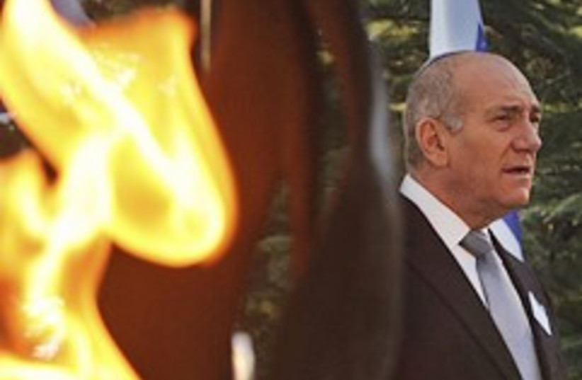 olmert breathes fire 248.88 (photo credit: AP)