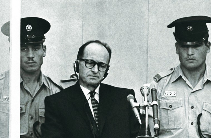 Adolf Eichmann sits during his trial in Jerusalem, 1961. (photo credit: REUTERS,REBECCA FRIEDMAN,REPUBBLICA CONFERENCE/PR)
