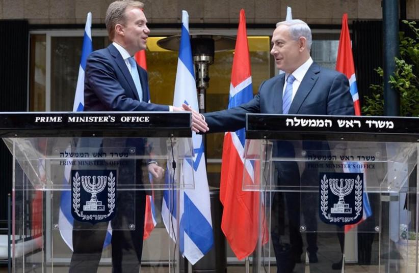 Prime Minister Benjamin Netanyahu meets Norwegian Foreign Minister Børge Brende (photo credit: KOBI GIDEON/GPO)