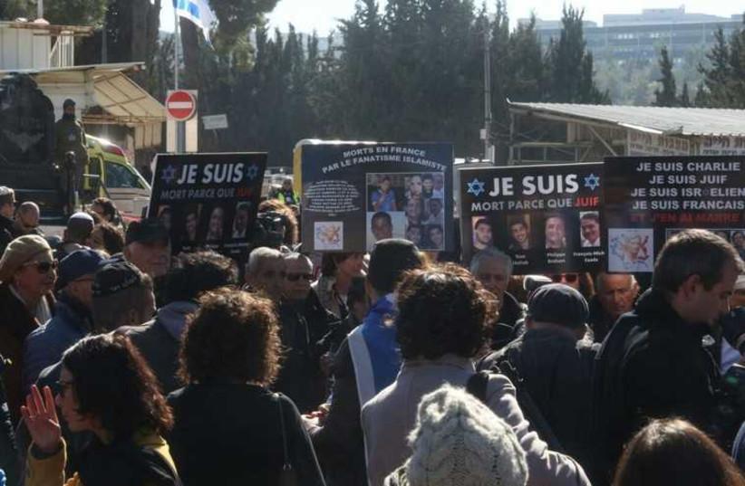 Ceremony for Paris victims (photo credit: MARC ISRAEL SELLEM/THE JERUSALEM POST)