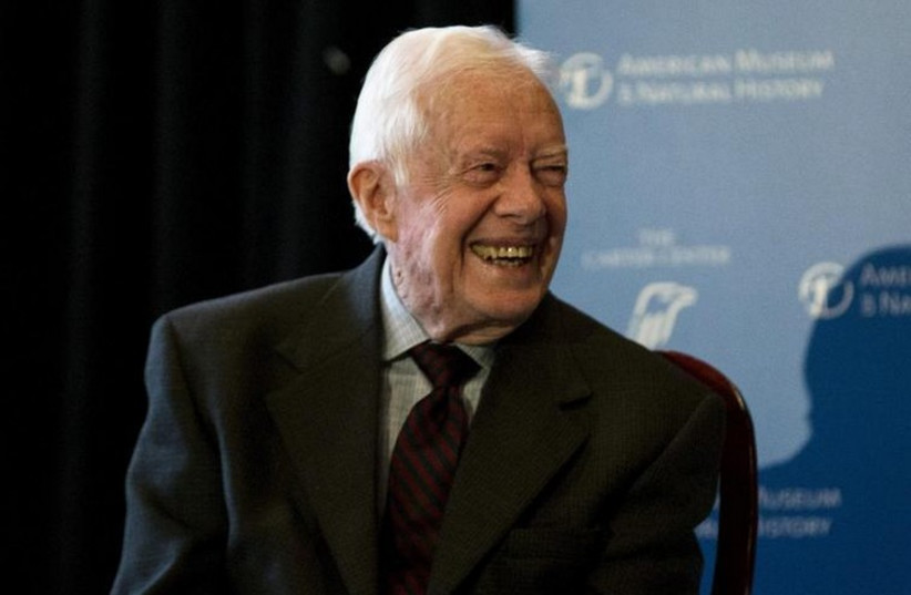 Former US president Jimmy Carter speaks at the opening of a new exhibit in New York (photo credit: REUTERS)