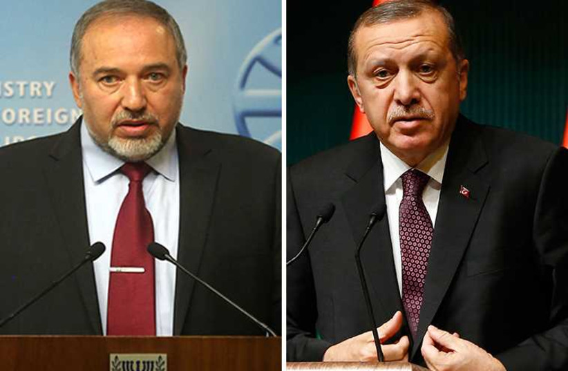 Liberman and Erdogan (photo credit: REUTERS,JPOST STAFF)
