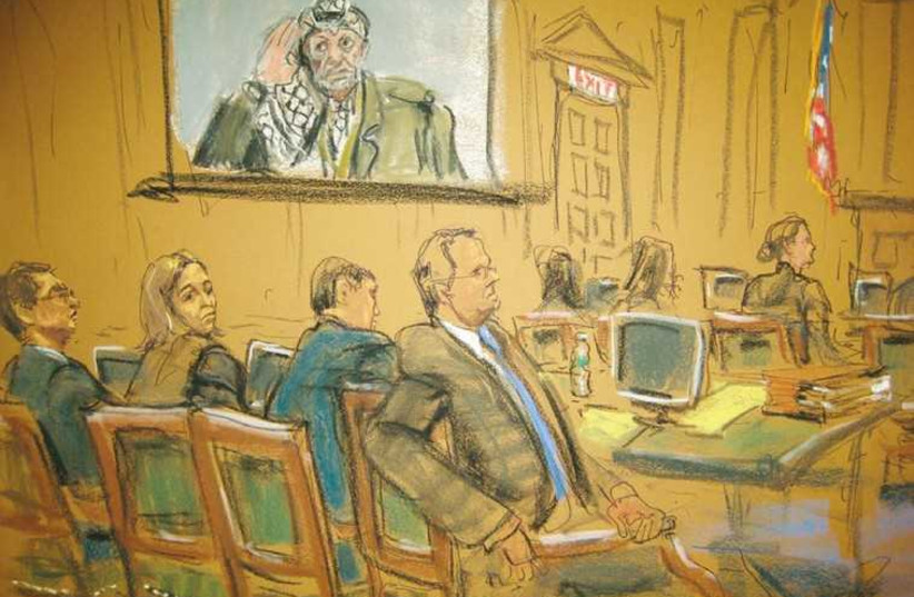 Courtroom sketch of US terror trial (photo credit: REUTERS)