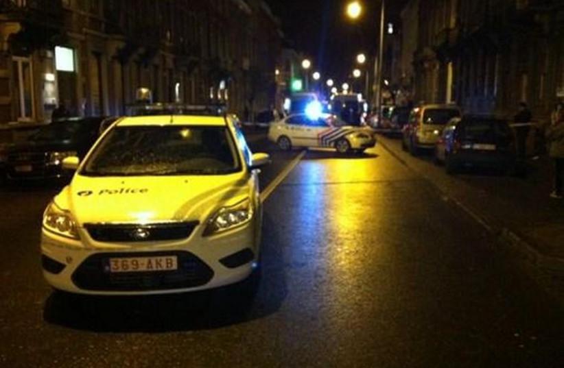 Scene of anti-terrorism operation in Verviers, Belgium (photo credit: TWITTER)