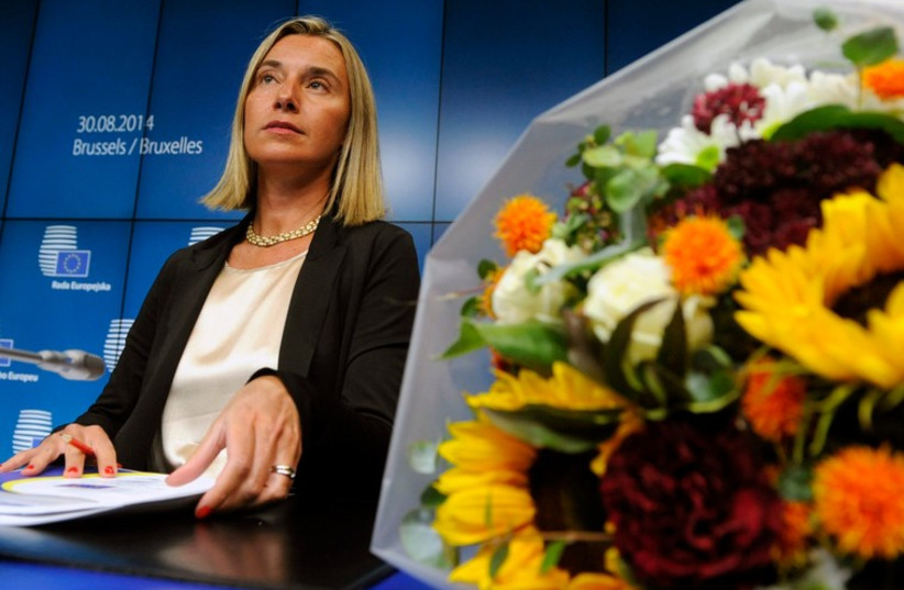 European High Representative for Foreign Affairs Federica Mogherini holds a news conference during an EU summit in Brussels (photo credit: REUTERS)