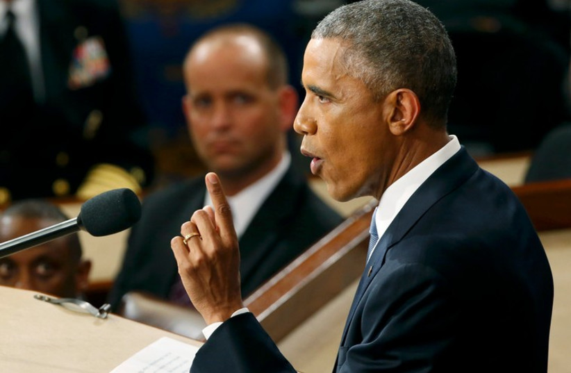 US President Barack Obama delivers his State of the Union address to a joint session of the U.S. Congress on Capitol Hill in Washington, January 20, 2015.  (photo credit: REUTERS)