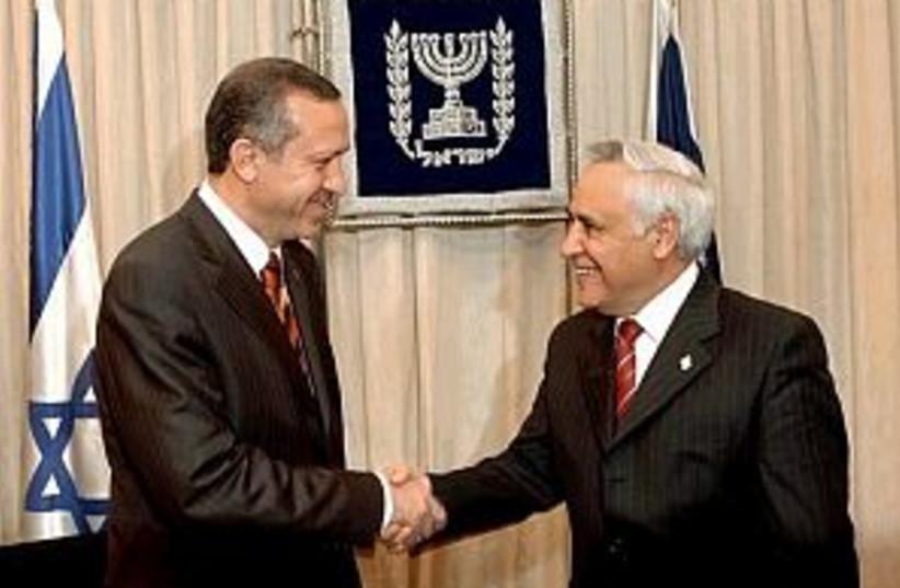 erdogan and Katsav 298 (photo credit: AP [file])